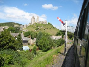 Taken from the Manston Locomotive as we passed a signal with Corfe Castle on top of the hill.