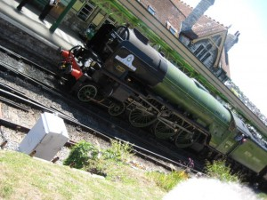 The Tornado pulling into Swanage station from London.
