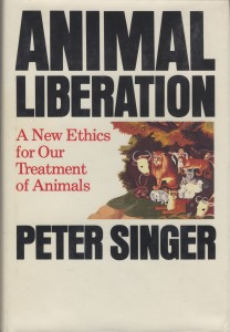 This is the cover of the first edition of Animal Liberation by Peter Singer published by New York Review Book in 1975.