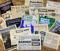 Past issues of Peace News, stretching back over its 75 years of publication.