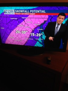 "The weather forecast on one of Washington DC's TV channels predicted 20-30"" of snow for the area."